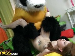 A cute teenage cutie masturbating - that's smth that can make anyone rock-hard! The nude horny hottie drilled her oozing cunt with a massive marital-device, then fell asleep. What happened later could have been her dream, 'cuz it's too weird. Her beloved toy, a huge panda bear, came alive and plunged into fun fucking with the oversexed chick. This Chab made the amused cutie engulf his large black dong, then hammered the sexy legal age teenager's creamy twat. Wow, sex with large toys has not at any time looked so damn hot!...
