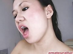 Carmina is an oriental slut out of gag reflex. This Babe takes a pecker all the way down her mouth and holds it for a whilst. Then Carmina gets her shaved twat fucked then the wang goes right back into her mouth. This Babe jerks off Thomas' knob until it