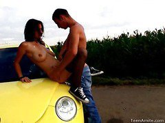 Berta wanted to go for a drive, but that babe didn`t tell her favourable boyfriend where this was going to end up. That Babe wanted some place where they could be alone and no one could hear her. This legal age teenager nympho is a loud moaner and when this guy really starts to fuck her hard, it`s becomes really difficult for her to stay quiet. But in this spot that`s in the middle of nowhere, they can be as loud as they want. They`re not holding back anything this time. That Guy pounds her bawdy cleft right on the hood of the car and covers her face with cum.
