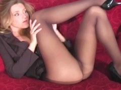 Playful lass makes hawt curving session exposing cum-hole a bit