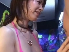 Horny Japanese honey Ai Himeno in swimsuit is giving a hawt and horny oral stimulation here. That Chick tenderly play with the fellow ramrod, sucks it like a candy and expect for the large load. A must watch!