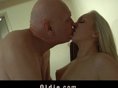 His large old erected dick underneath the shower excited the blond nymph who waste no time to finger-spoil her vagina in the couch. Massaged wonderful that playgirl further orgasmed by the virile old perv in doggie style position